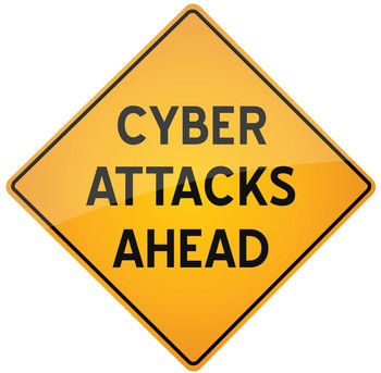 Cyber Attacks Ahead Road Sign