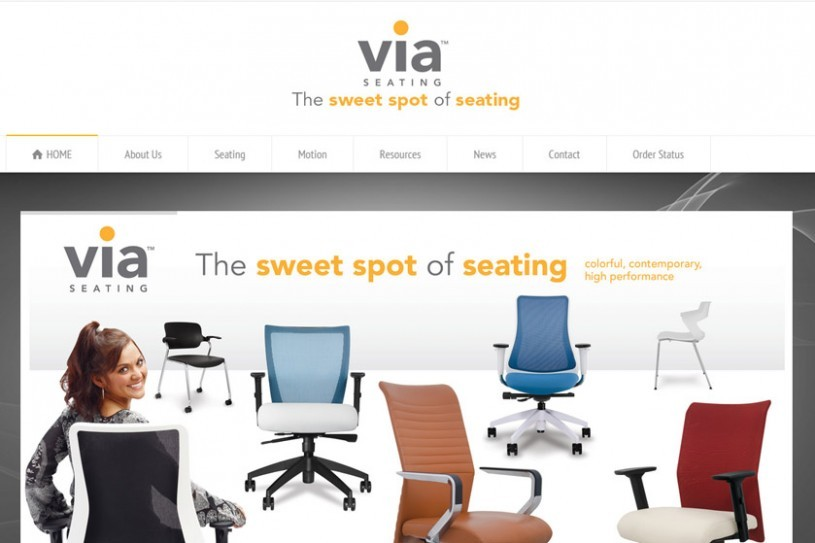 Web snip of Via Seating, Inc's new website