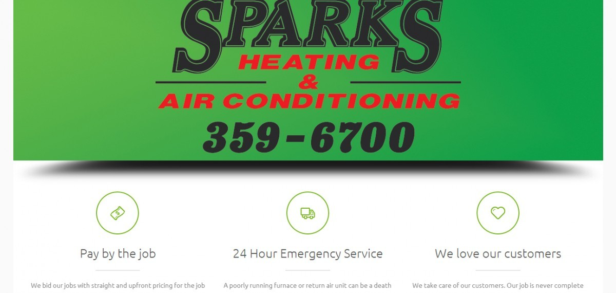 Website screenshot of sparksheatingair.com created by Credo Technology Group, LLC