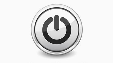 illustration of a power button in white with black power symbol