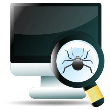 Computer Screen with a magnifying glass with a spider